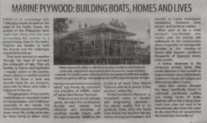 Manila Standard - Marine Plywood: Building Boats, Homes and Lives